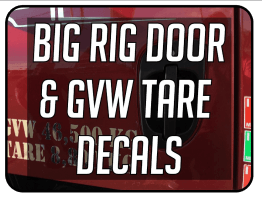 Big Rig Door / GVW Tare Decals